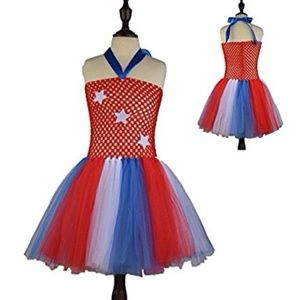 Red White Blue 4th of July Tulle Dress Size 5 NEW